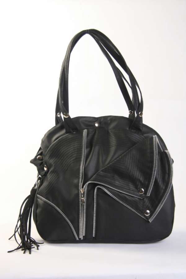 new! black biker bag