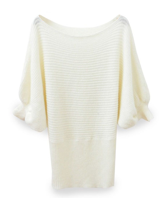 Slash Neckline Fluffy Sweater with Puff Sleeves