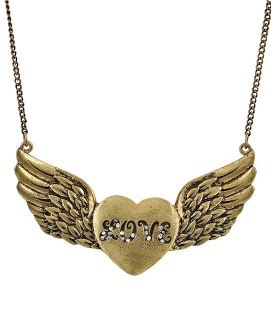 Vintage Heart Wing Necklace