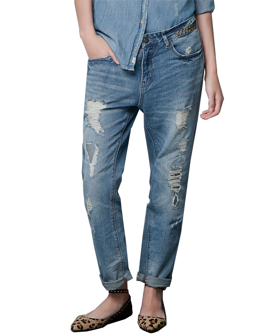 bf style washed and ripped loose fit jeans 39 dalook. Black Bedroom Furniture Sets. Home Design Ideas