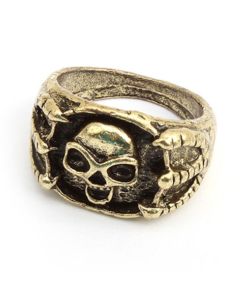Golden Vintage Ring with Eagle Hand and Skull