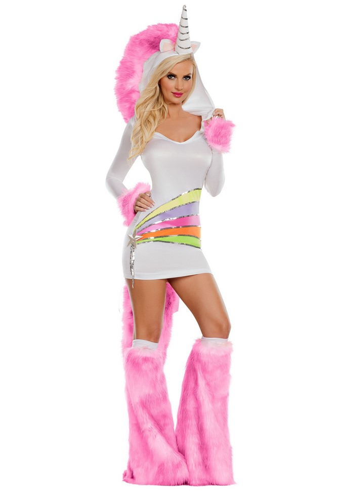 LADIES RAINBOW UNICORN COSTUME