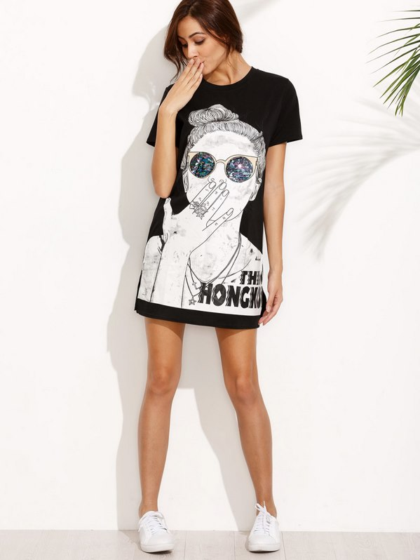 Black Print Split Side Tshirt Dress