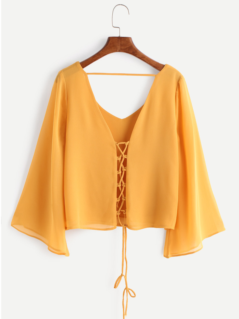 Yellow Criss Cross Lace Up V Back Blouse
