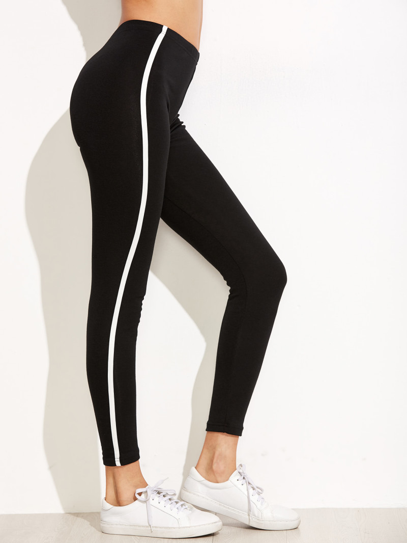 Black Striped Side Leggings