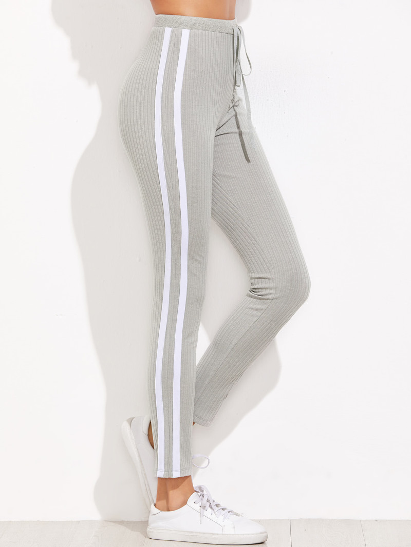Grey Ribbed Knit Striped Sideseam Sweatpants