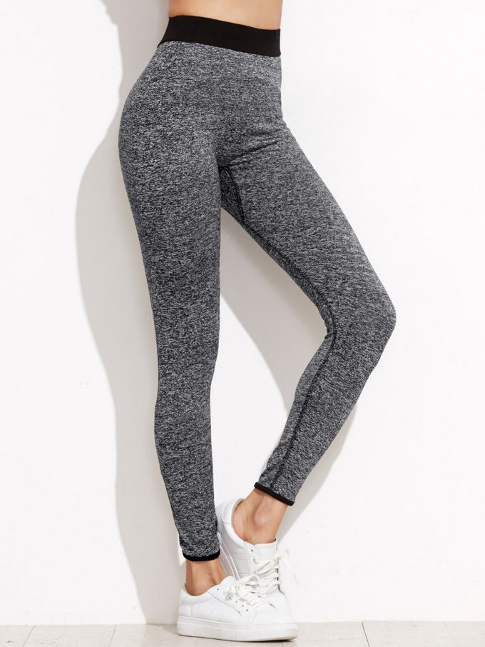 Grey Marled Knit Contrast Waist Leggings