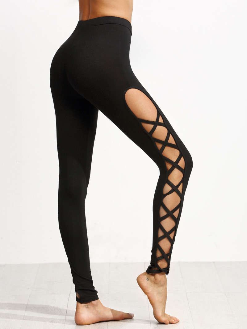 Black Cutout Lattice Detail High Waist Leggings