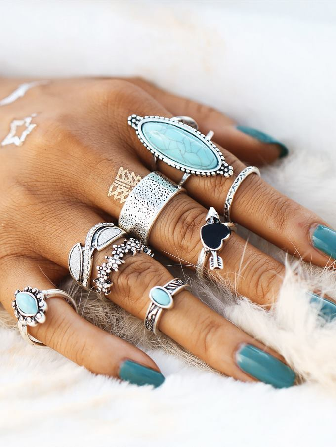 Heart & Flower Design Ring Set With Turquoise