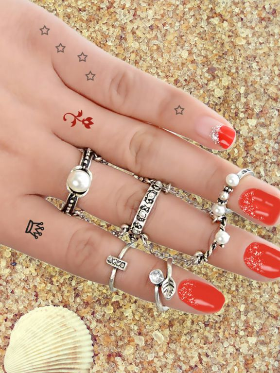 At-Silver 6Pcs/Set Boho Chic Vintage Style Circle Chain Knuckle Ring Set