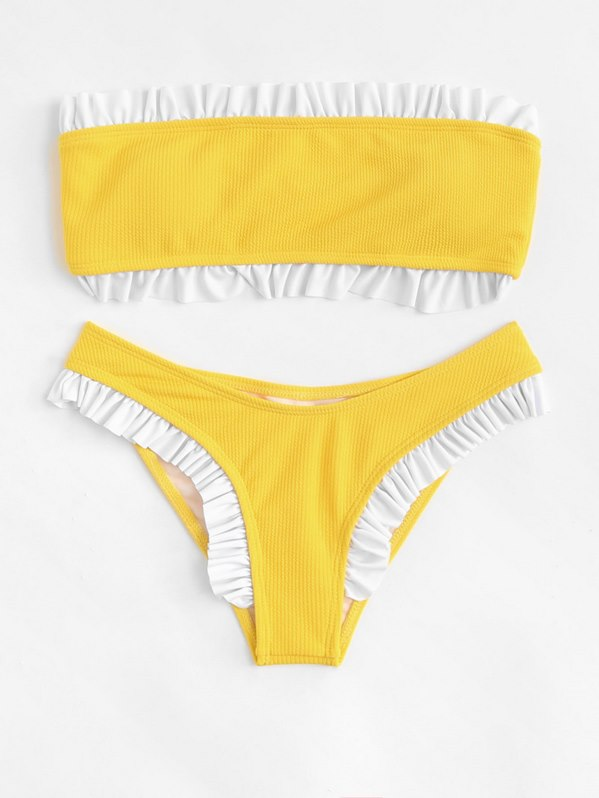 Ruffle Trim Ribbed Bikini Set