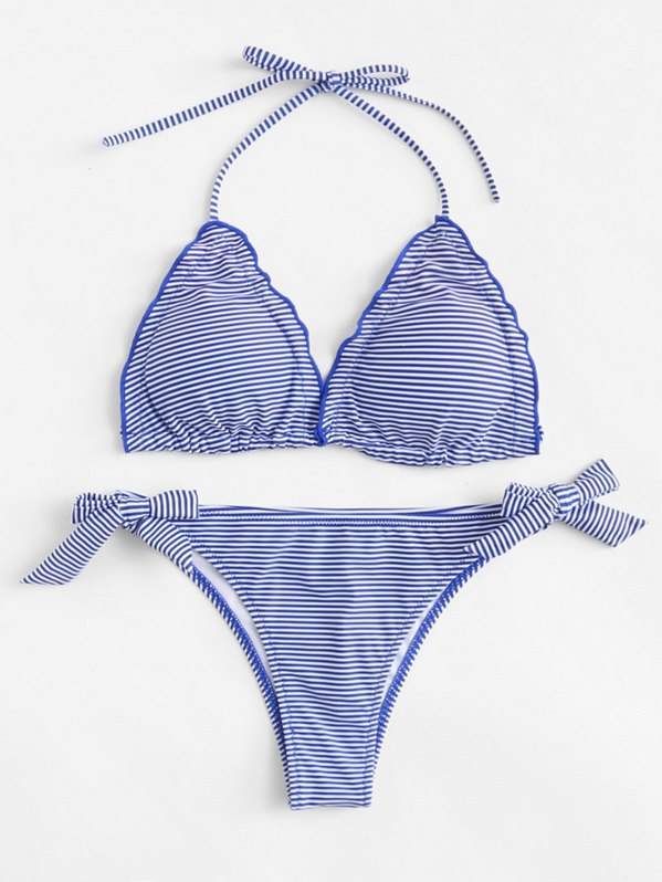 Striped Self Tie Bikini Set