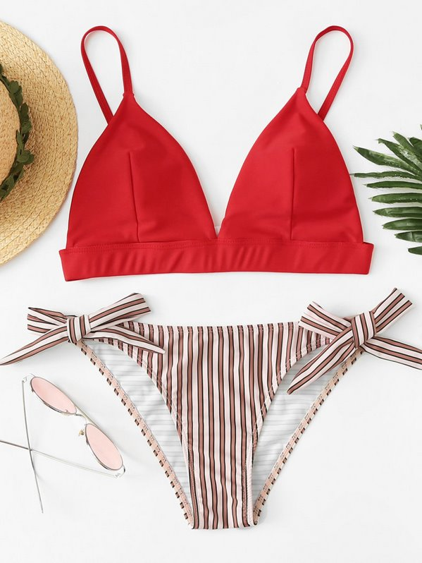 Mix And Match Striped Bikini Set