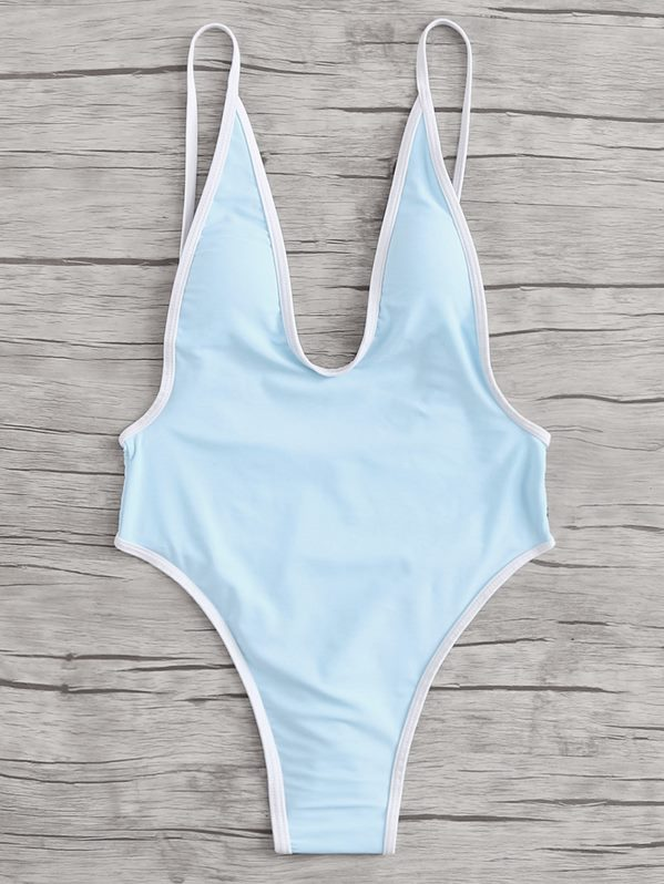 Contrast Piping Backless Swimsuit