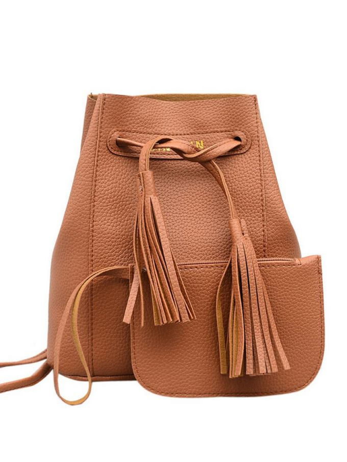Tassel Detail PU Backpack With Clutch
