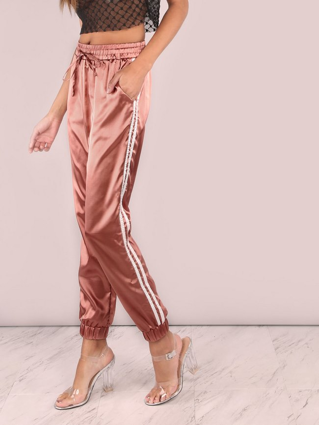 Satin Luxe Trainer Joggers MARSALA