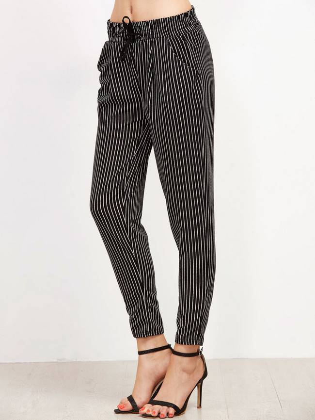 Black Vertical Striped Drawstring Pants