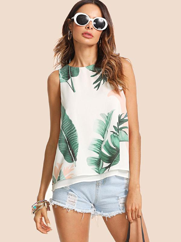 SHEIN Tropical Print High Low Top