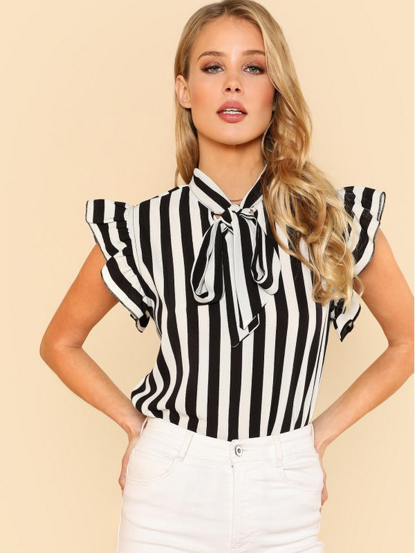 SHEIN Tie Neck Flutter Sleeve Striped Blouse