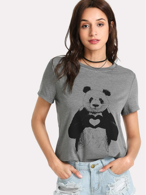 SHEIN Panda Print Heather Knit T-Shirt
