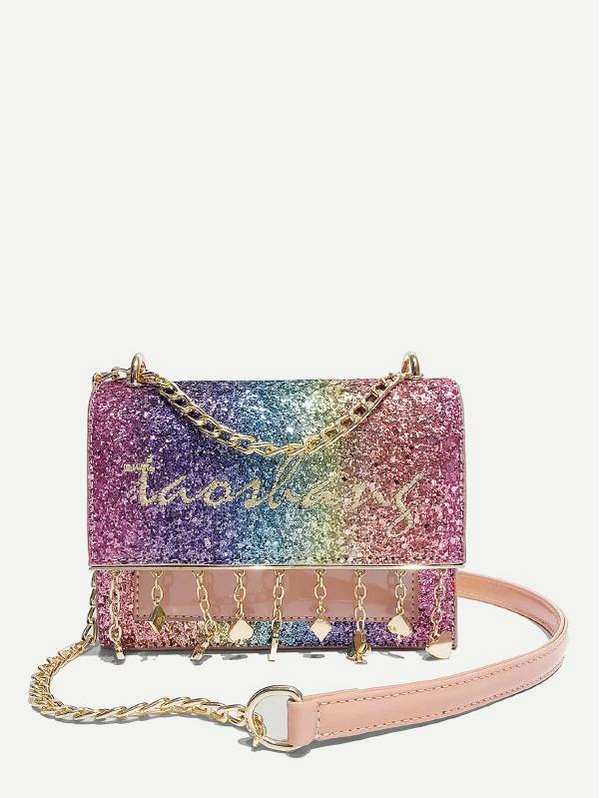 Embroidered Detail Glitter Shoulder Bag