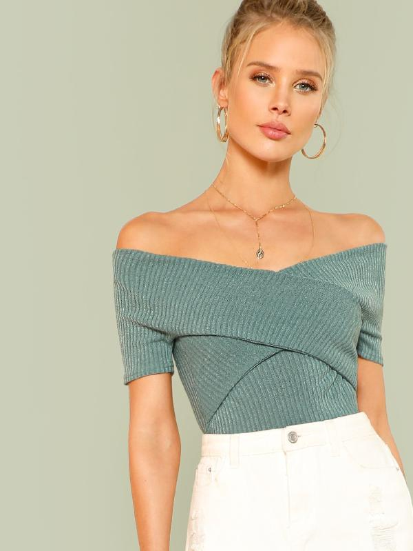 SHEIN Wrap Design Bardot Ribbed Top