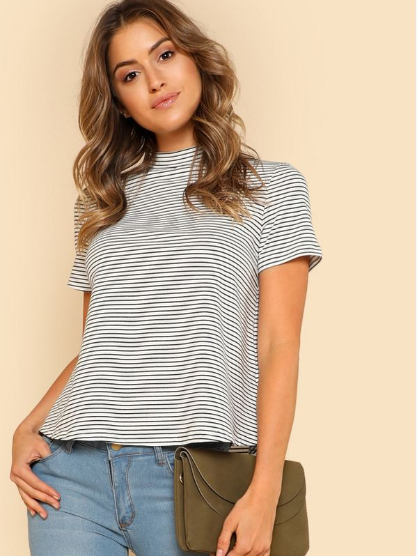 SHEIN Mock Neck Striped Tee