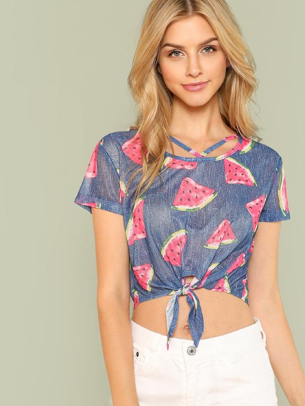 SHEIN Allover Watermelon Print Strappy Neck Knot Tee