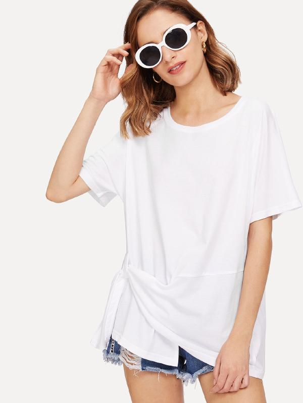 SHEIN Knot Side Solid Tee