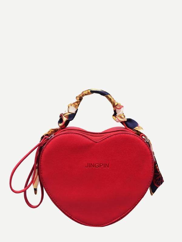 Wrapped Scarf Heart Shaped Crossbody Bag