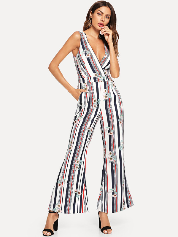 SHEIN Stripe & Flower Print Wrap Jumpsuit