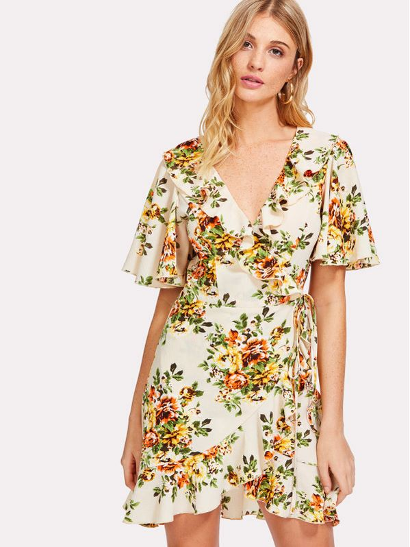 SHEIN Allover Floral Print Wrap Dress
