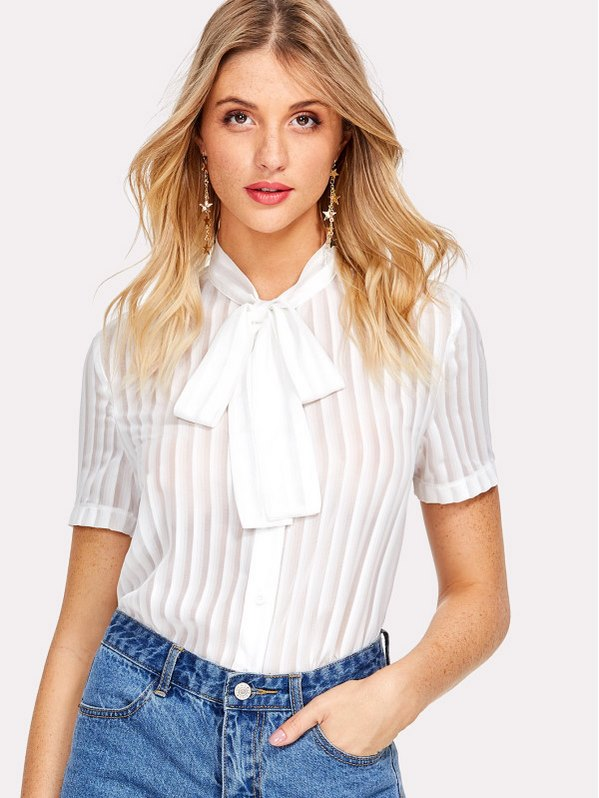 SHEIN Tie Neck Button Up Pleated Blouse