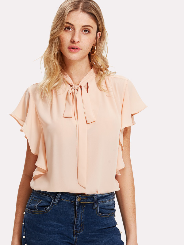 SHEIN Tie Neck Ruffle Trim Top