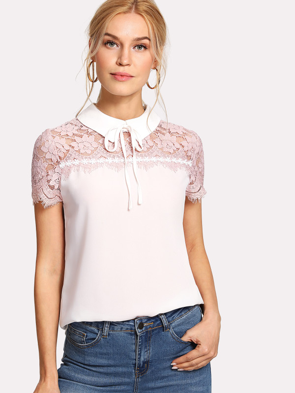 SHEIN Tie Neck Lace Yoke Top