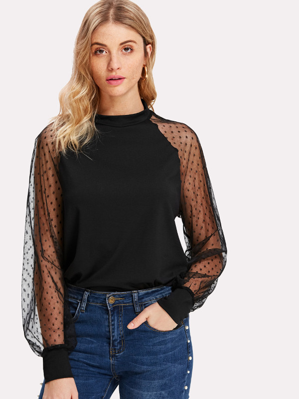 SHEIN Polka Dot Mesh Bishop Sleeve Top
