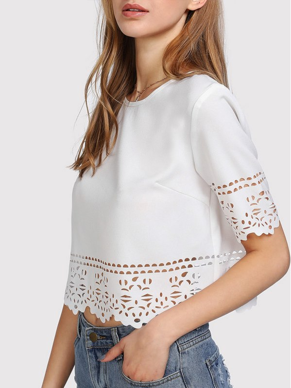 SHEIN Keyhole Back Laser Cut Crop Top