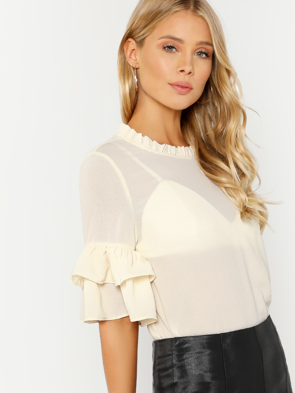 SHEIN Layered Ruffle Sleeve Top