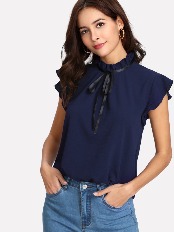 SHEIN Bow Tied Frilled Neck Button Back Blouse