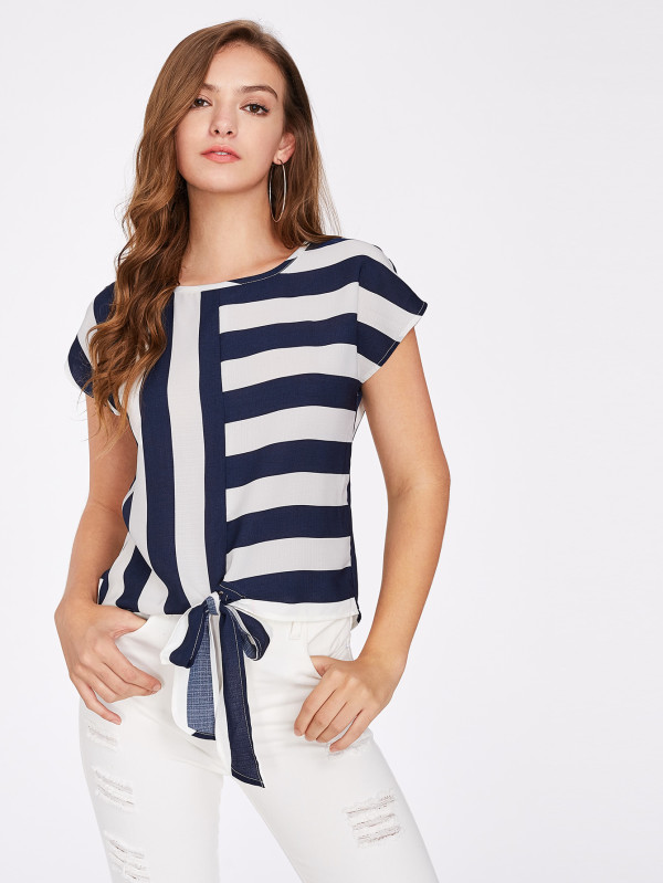 SHEIN Mixed Striped Tied Front Top