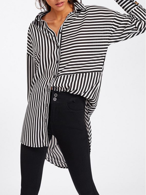 SHEIN Dolphin Hem Mixed Stripe Shirt