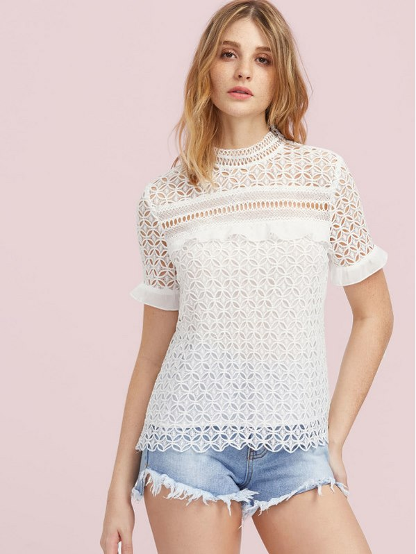 SHEIN Ruffle Cuff Hollow Out Geo Lace Top