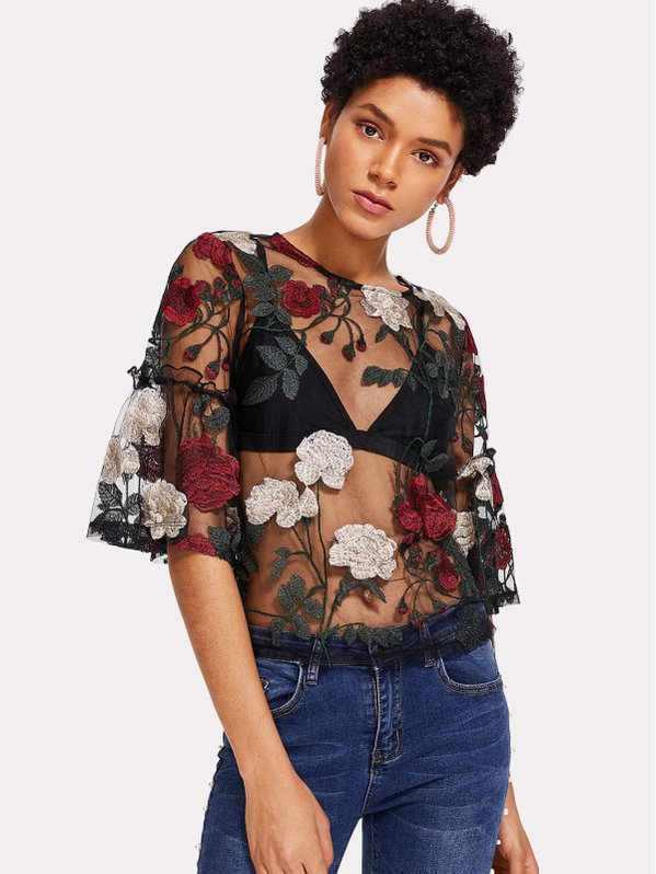 SHEIN Frilled Sleeve Embroidered Mesh Top