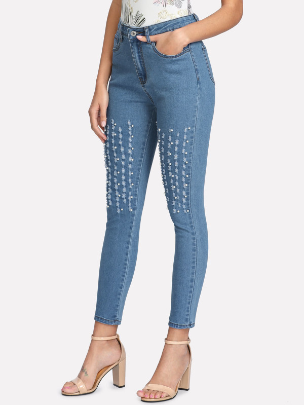 SHEIN Pearl Embellished Ripped Detail Jeans