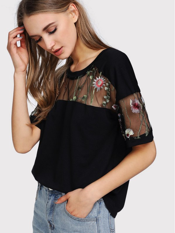 SHEIN Embroidered Mesh Yoke Top