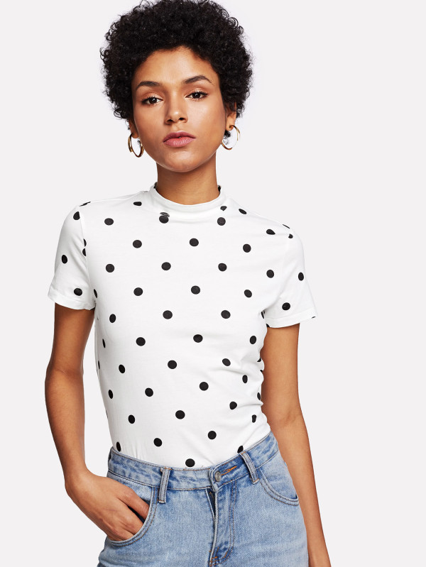 SHEIN Mock Neck Polka Dot Tee