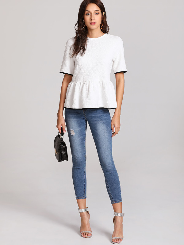 SHEIN Contrast Trim Tied Open Back Smock Tee