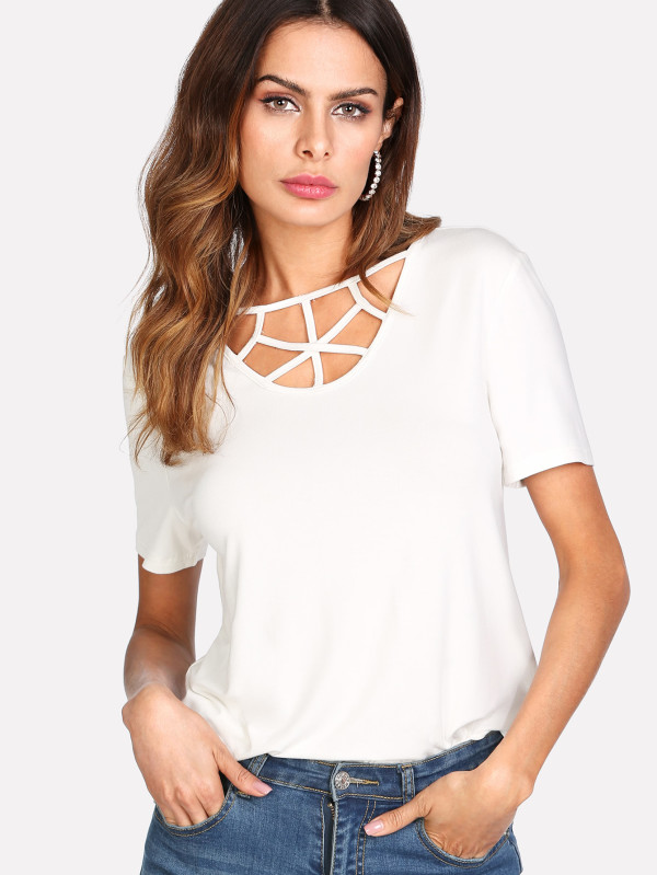 SHEIN Caged Neck Solid Tee