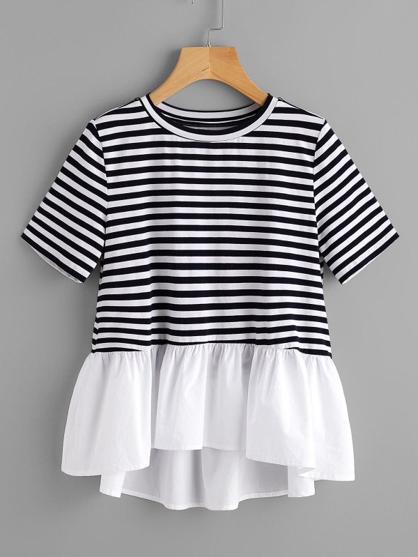 SHEIN Contrast Frill Trim Striped Tee