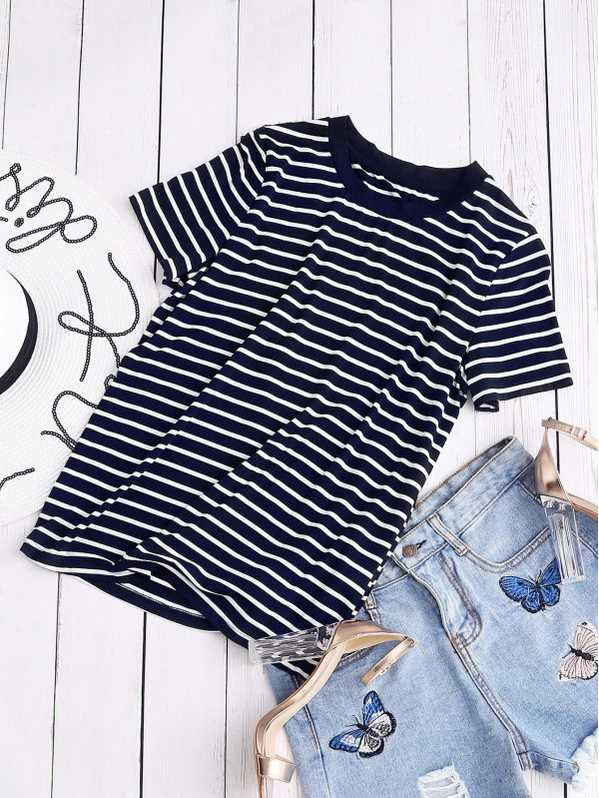SHEIN Ribbed Neck Striped Tee